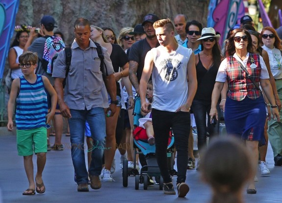 David and Victoria Beckham at Disneyland with their kids Cruz, Harper and Brooklyn