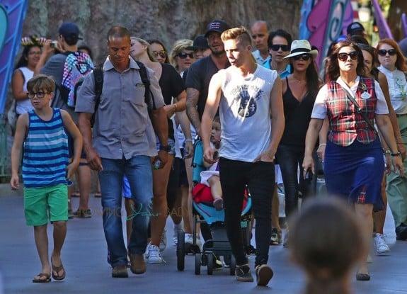 David and Victoria Beckham at Disneyland with their kids Cruz, Harper and Brooklyn