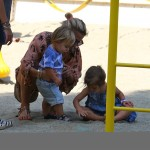 Elsa Pataky at the Park with her daughter India Hemsworth and twin son