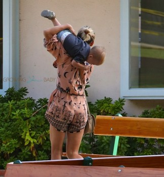 Elsa Pataky at the Park with her twin son
