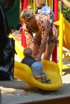 Elsa Pataky at the Park with one of her twin sons