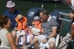 Elton John & David Furnish with sons Elijah and Zachary  in St