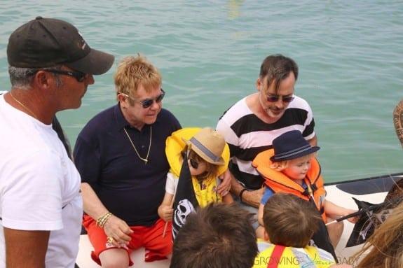 Elton John and David Furnish in St. Tropez with sons Elijah & Zachary