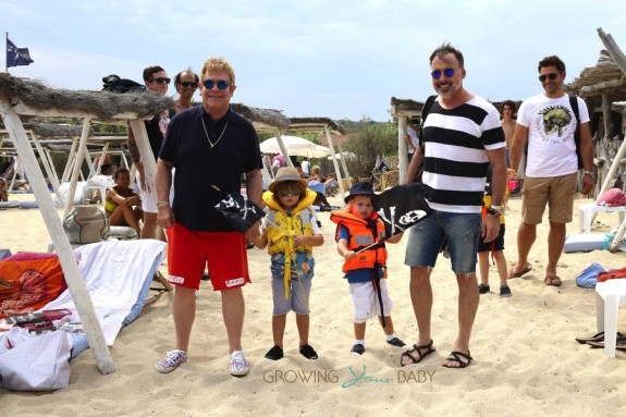 Elton John and David Furnish in St. Tropez with sons Elijah and Zachary