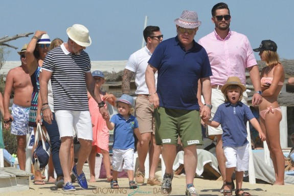 Elton John and David Furnish with sons Elijah and Zachary in St. Tropez