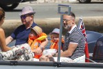 Elton John and David Furnish with sons Elijah and Zachary  in St