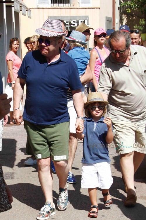 Elton John strolls wih his son Zachary in ST.Tropez