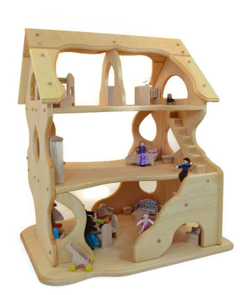 Handcrafted Natural Wooden Toy Dollhouse-Hannah's Dollhouse