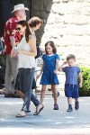 Jennifer Garner at church with kids Seraphina and Sam