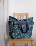 Locust Leaf Upcycled Weekender - Decorator Teal & Eggplant Botanical Bag