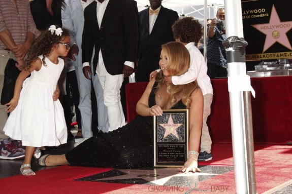 Mariah Carey with her twins Moroccan & Monroe Cannon at Hollywood Walk Of Fame Star Ceremony