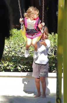 Mason and Penelope Disisck at the park in Malibu