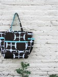 Simply Modern Upcycled Weekender - Bold Turquoise and Brown and White Graphic Travel