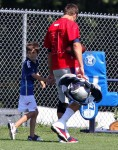 Tom Brady at Football practise with his son John Moynahan