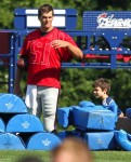 Tom Brady at Football practise with son John