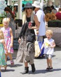 Tori Spelling at the Farmer's Market with kids Stella and Finn McDermott