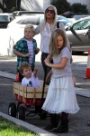 Tori Spelling at the market with kids Liam, Stella and Finn McDermott