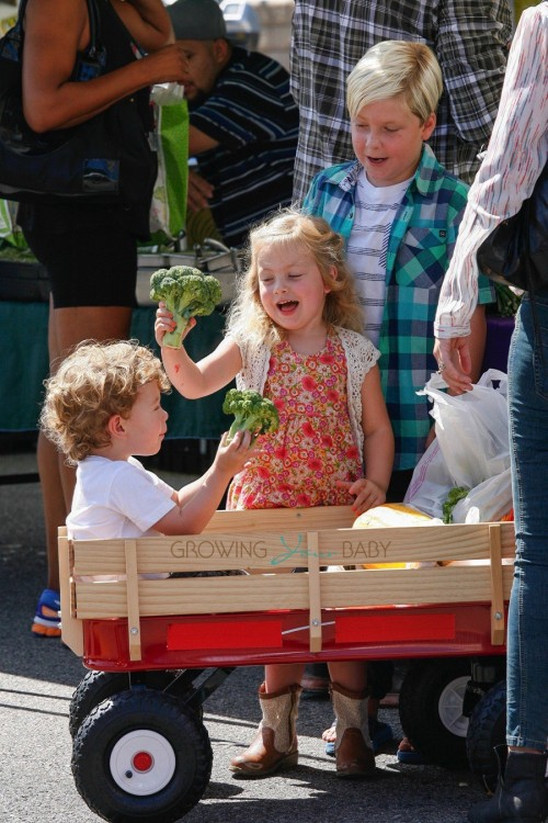 Tori Spelling's kids Liam, Hattie and Finn at the market