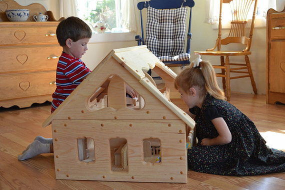 Wooden Toys - Child's Wooden Dollhouse