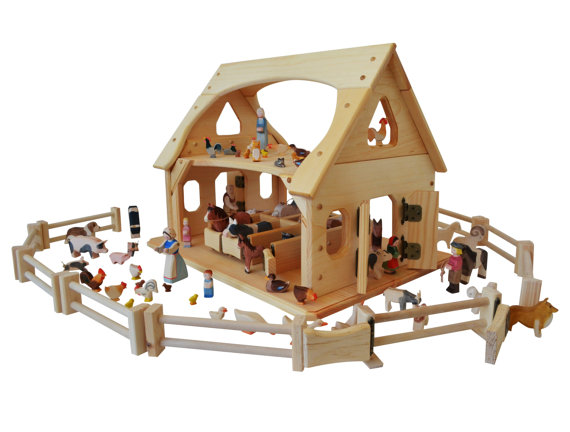 Wooden toy stable-Montessori Barn