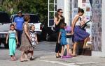 Ben Affleck & Jennifer Garner with kids Violet, and Seraphina at the market in Pacific Palisades
