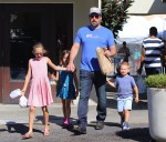 Ben Affleck with kids Violet, Seraphina and Samuel at the market in Pacific Palisades