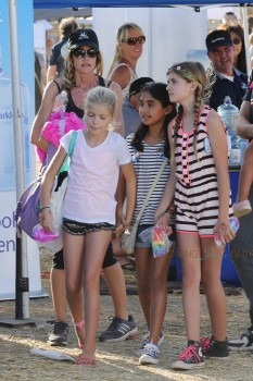 Denise Richards at the Malibu cookoff with daughters Sam and Lola Sheen