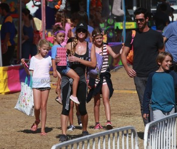 Denise Richards takes her kids Sam, Lola and Eloise to the fair in Malibu