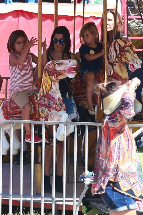Kourtney Kardashian with kids Mason and Penelope at the malibu cookout