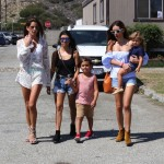 Kourtney Kardashian with kids Mason and Penelope at the malibu cookout