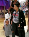 Pregnant Kim Kardashian at Toys R US with daughter North West