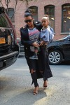 Pregnant Kim Kardashian out in New York City with daughter North West