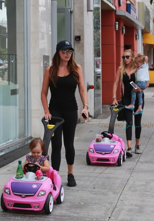 Tamara and Petra Ecclestone out in LA with their daughters Lavinia & Sophia