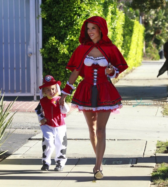 Alessandra Ambrosio dressed up for Halloween with her son Noah Mazur