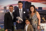 Cristiano Ronaldo with his five-year-old son and his mum Dolores