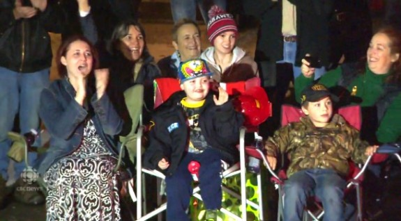Evan Leversage - enjoying the christmas parade