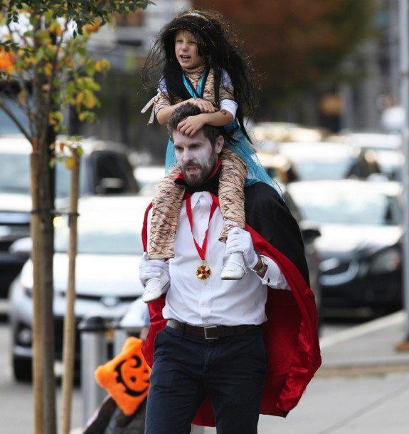 Jason & Bryn Hoppy leave a Halloween Party