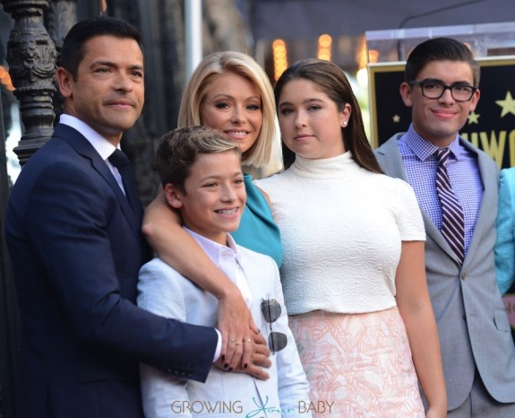 Kelly Ripa and Mark Consuelos with kids Michael, Lola and Joaquin at The Hollywood Walk Of Fame ceremony