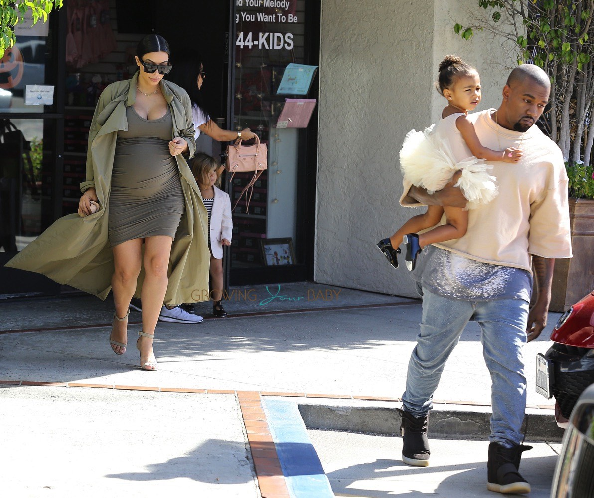 Kim Kardashian and Kanye West leave ballet class with daughter North