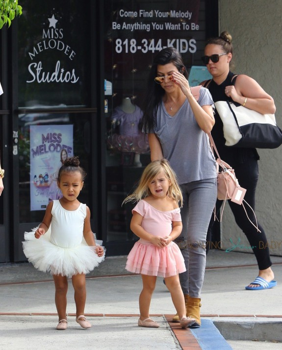 Kourtney Kardashian at ballet class with daughter Penelope Disick & niece North West