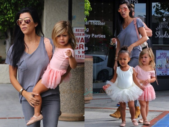 Kourtney Kardashian at dance class with daughter Penelope Disick & niece North West