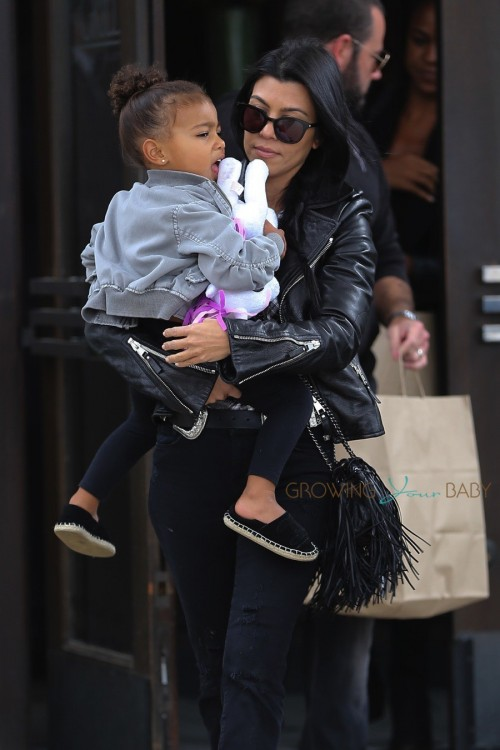 Kourtney Kardashian with niece North West out for lunch at The Grill on the Alley in Thousand Oaks , California