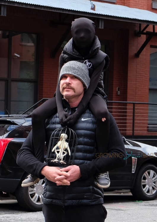 Liev Schreiber out in NYC with son
