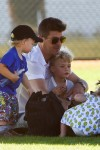 Robin Thicke and his son Julian at his soccer game
