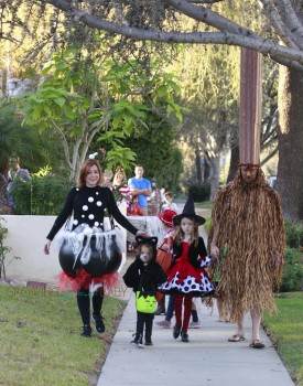 Alyson Hannigan with Alexis Denisoff out for halloween 2015 with kids Keeva and Satyana