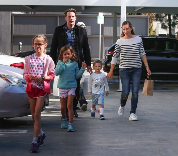 Ben Affleck and Jennifer Garner are seen leaving Cake Mix with their children Violet, Seraphina, and Samuel