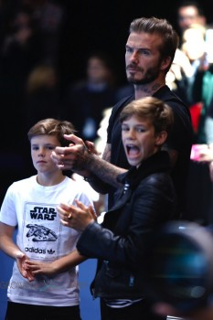 David Beckham takes his sons, Romeo and Cruz, to watch Rafael Nadal and Novak Djokovic compete in the semi-finals