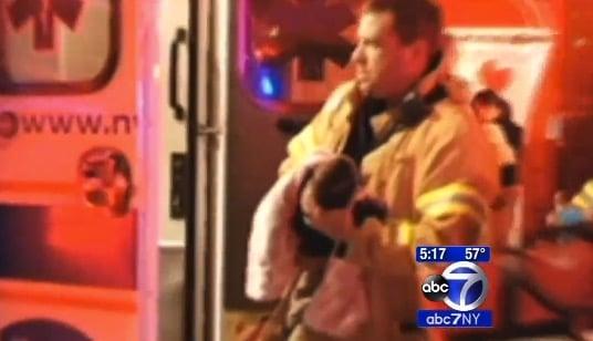 FDNY Lieutenant Adam Vilagos with 3-week old baby