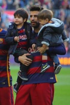 Gerard Pique with his sons Sasha and Milan at the La Liga match between FC Barcelona and Real Sociedad de Futbol