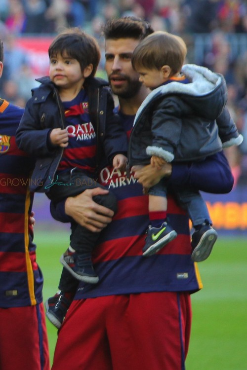 Gerard Pique with his sons Sasha and Milan at the La Liga match between FC Barcelona and Real Sociedad de Futbol